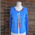 JOSEPH A Women Cardigan Sweater Size M Silk Blend Blue Sequin Top NEW