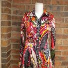 ALBERTA MAKALI Women Blouse Size M Shirt Top Crinkle Long Sleeve Colorful Floral