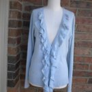 NEW YORK & COMPANY Women Cardigan Sweater Size L Blue Ruffle Long Sleeve