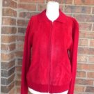CHICO'S DESIGN Women Sweater Jacket Size 2 L 12/14 Suede Leather Front Red