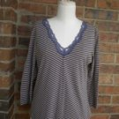 J CREW Women Blue/Yellow Stripe Lace V Neck Shirt Top Size M