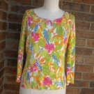 SIGRID OLSEN Sport Women  Cotton Blend Floral Beaded Shirt Top Size S