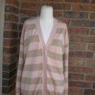 "NEIMAN MARCUS Women Stripe Cardigan Sweater Size 2 L Oversize Bust 48"" Hong Kong"