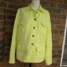 LANDS END Women Green Cotton Linen Blend Jacket w pockets Size 10 M