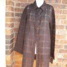 LES COPAINS Women 100% Linen Tunic Blouse Shirt Top Size 46 M Brown Long Sleeve