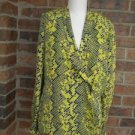 DANA BUCHMAN Women Green/Yellow Multi 100% Silk Wrap Blouse Shirt Top 8 Size