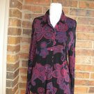 CHICO'S CHICOS TRAVELERS Women Navy/Red Floral Knit Top Size 0 S 4 / 6
