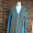 STORYBOOK KNITS Women Suede Fringe Cardigan Sweater Size S M Blue/Brown