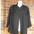 KASPER Woman Open Jacket Top Size 20W Linen Blend Black 3/4 Sleeve