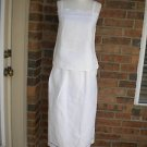 REGINA PORTER White 100% Linen Embroider  2 PC Tank Top Skirt Set Outfit Size 4