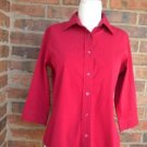 FACONNABLE Women Red Blouse Shirt Top Size XS S 3/4 Sleeve