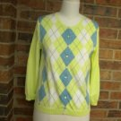 J CREW Woman 100% Cotton  Green/Blue Argyle Cardigan Sweater Top M Size