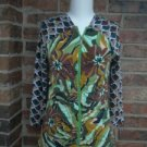 MIFRESIA Women Floral Zip Front Ruched Shirt Top Size M Rayon Blend