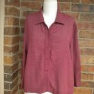 EILEEN FISHER Women Burgundy/White Check 100% Rayon Blouse Shirt Top Size S