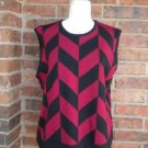 TALBOT Sweater Vest Size XL Merino Women Wool Blend Top Red/Black Made in ITALY