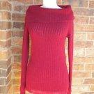ANN TAYLOR Women Burgundy Wool Blend Cowl Neck Sweater Size XS