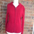 TWEEDS Women Red 100% Cotton Cable Knit Zip Hoodie Hooded Sweater Size S