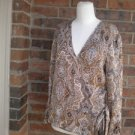 TALBOTS Wrap Blouse Size 12P 12 100% Pure Silk Paisley Top Shirt Brown Multi NEW