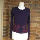 FREE PEOPLE Women Purple Multi Embroider Cardigan Sweater Size PS S