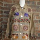 CHICO'S DESIGN Women 100% Silk Embroidered Blouse Shirt Top Size 0 S M