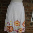 MADISON STUDIO Women While Multi 100% Linen Pleated Skirt Size 8 M $100 NEW