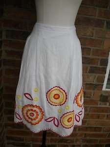 MADISON STUDIO Women While Multi 100% Linen Pleated Skirt Size 8 M $100 NEW