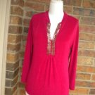 CHICO'S TRAVELERS Women Red Gold Sequin Top Size 1 M 8 / 10