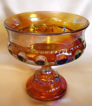 Indiana Glass Compote King's Crown Thumbprint