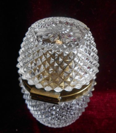 Diamond Point Cut Glass Table Top Cigarette Lighter