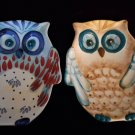 Pair (2)American Atelier at Home Owl Serving Dishes Painted Ceramic Collectible