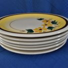 "Vernon Kilns Vintage Pottery Brown Eyed Susan Vintage 6 Salad plates 6 1/4"" Diam"
