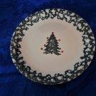 "Folk Craft  Tienshan Green Sponge Border 10 3/8"" Dinner Plate Winter Wonderland"