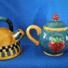 Sakura Debbie Mumm Tea Pot and Tea Kettle Salt and Pepper Shakers