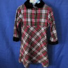 Girls Dress Plaid with Velvet Collar and Cuffs 100% Cotton Size 4