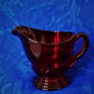 """Moondrop Ruby Red Small Glass Creamer 3"""" Tall  At  The Spout Excellent Condition"""