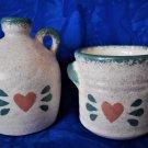 2 Small Sponge Pattern Jugs with Heart Design