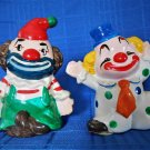 "2 Ceramic Clowns Made In Sri Lanka Colorful Hand Painted About 3"" Tall"