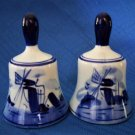 Two 2 Hand Painted Blue and White Delft Bells Signed Delftsblauw 607