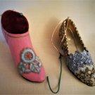 Vintage Mini Shoes Red Velvet Pin Cushion & MMA Filagree Mini Shoe