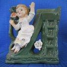 Vintage Gift Planter or Bud Vase  Girl on slide. Green with Applied Girl & Rose