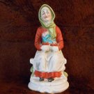 Old Lady Ceramic Bisque Figurine Sitting, Tulips in Her Lap No markings 6 18""