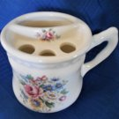 Vintage Athena USA White Porcelain Toothbrush Holder Victorian Floral Design
