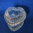 Homco Heart Shaped Glass Trinket  Box/ Jewelry Holder With Lid