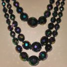 Vintage 1950's Three Strand Multi-Faceted Bead Necklace