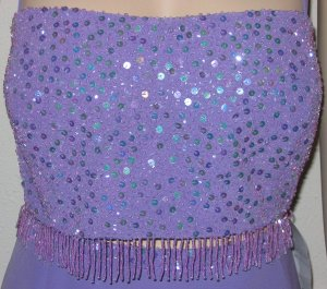 Cassandra Stone Lilac Two Piece Sequined Gown
