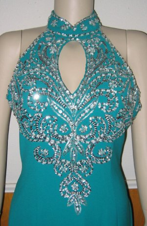 Bella Diosa Emerald Green with Silver Sequins Gown