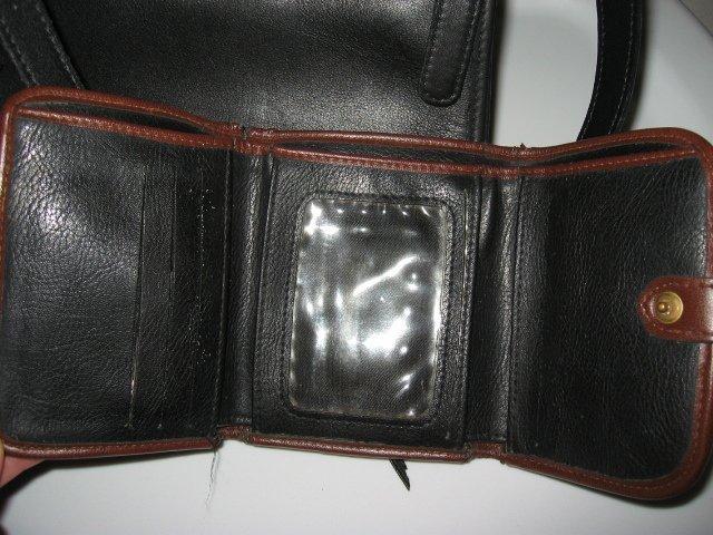 20.LIZ CLAIBORNE WALLET WOMEN'S black BROWN LEATHER BLACK PURSE HANDBAG BAG