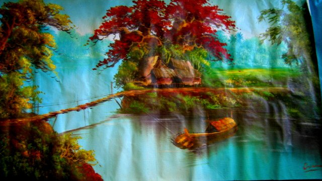 LAKE LANDSCAPE PAINTING FULL WALL SIZE poster room interior decor art nature boat red leaves