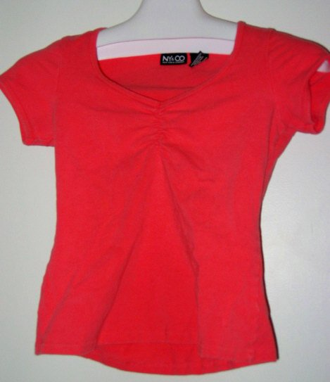 SHIRT CLOTHES ny&co pink s girls V-NECK ROUCHING