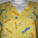 YELLOW MEDIUM TWEETY bird medical uniform SCRUBS WOMEN'S CLOTHES SHIRT TOP